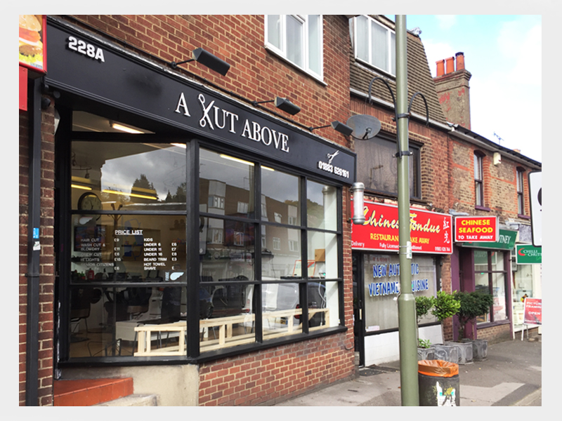 greenwood-media-solutions-shop-front-signs-surrey-a-cut-above-barber-shop-design-1